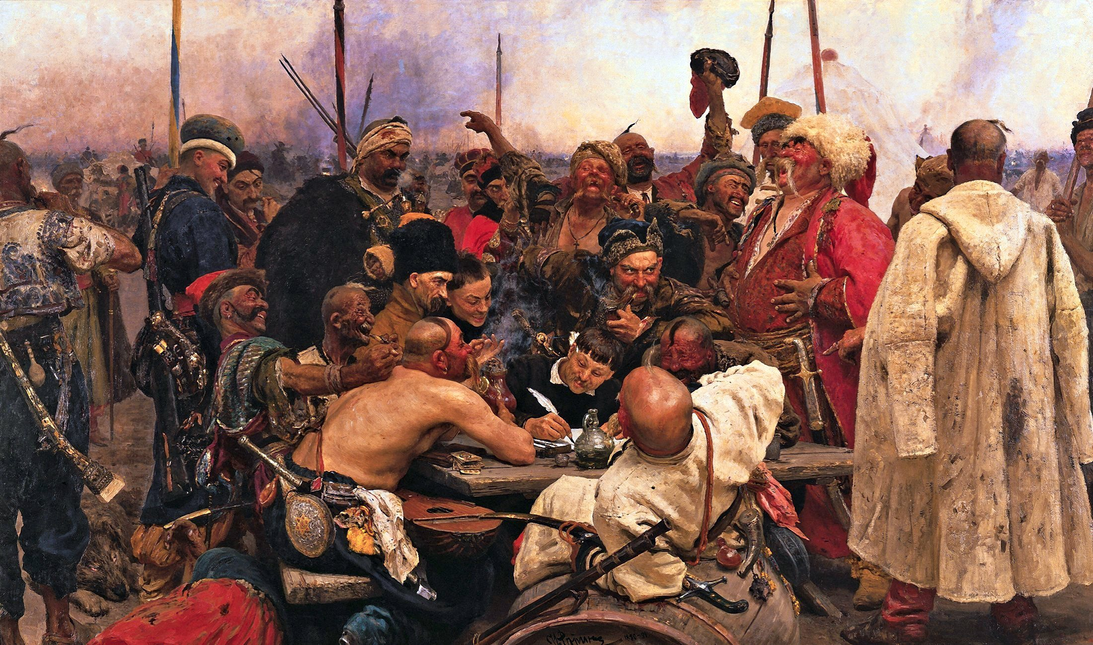 00 Ilya Repin. The Zaporozhe Cossacks Write a Mocking Letter to the Turkish Sultan. 1891