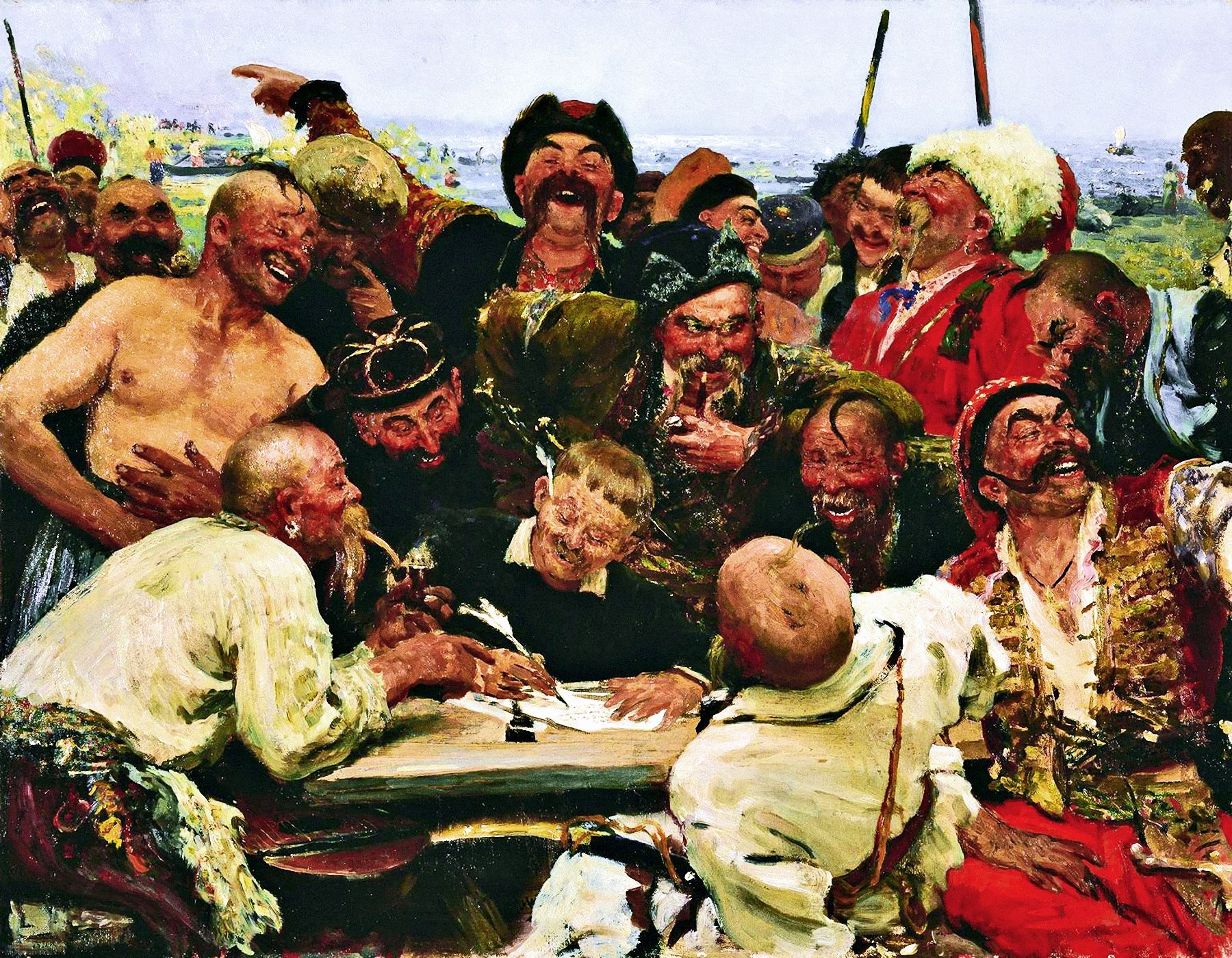 00 Ilya Repin. A Study for 'The Zaporozhe Cossacks Write a Mocking Letter to the Turkish Sultan'. 1880