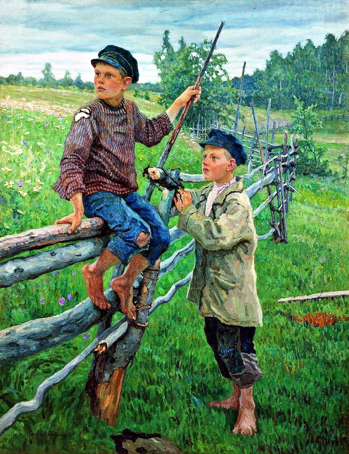 00 Nikolai Bogdanov-Belsky. Village Kids. 1936