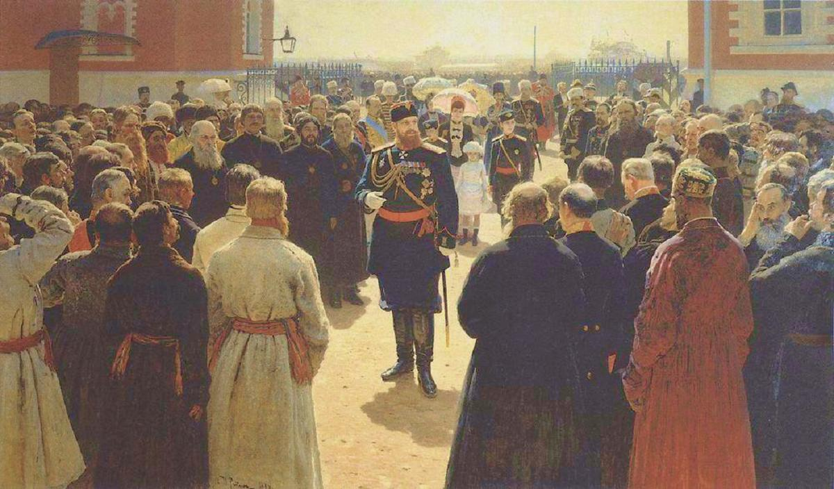 ilya-repin-reception-of-freeholding-elders-with-tsar-aleksandr-aleksandrovich-in-the-courtyard-of-the-petrovsky-palace-in-moscow-1886.jpg