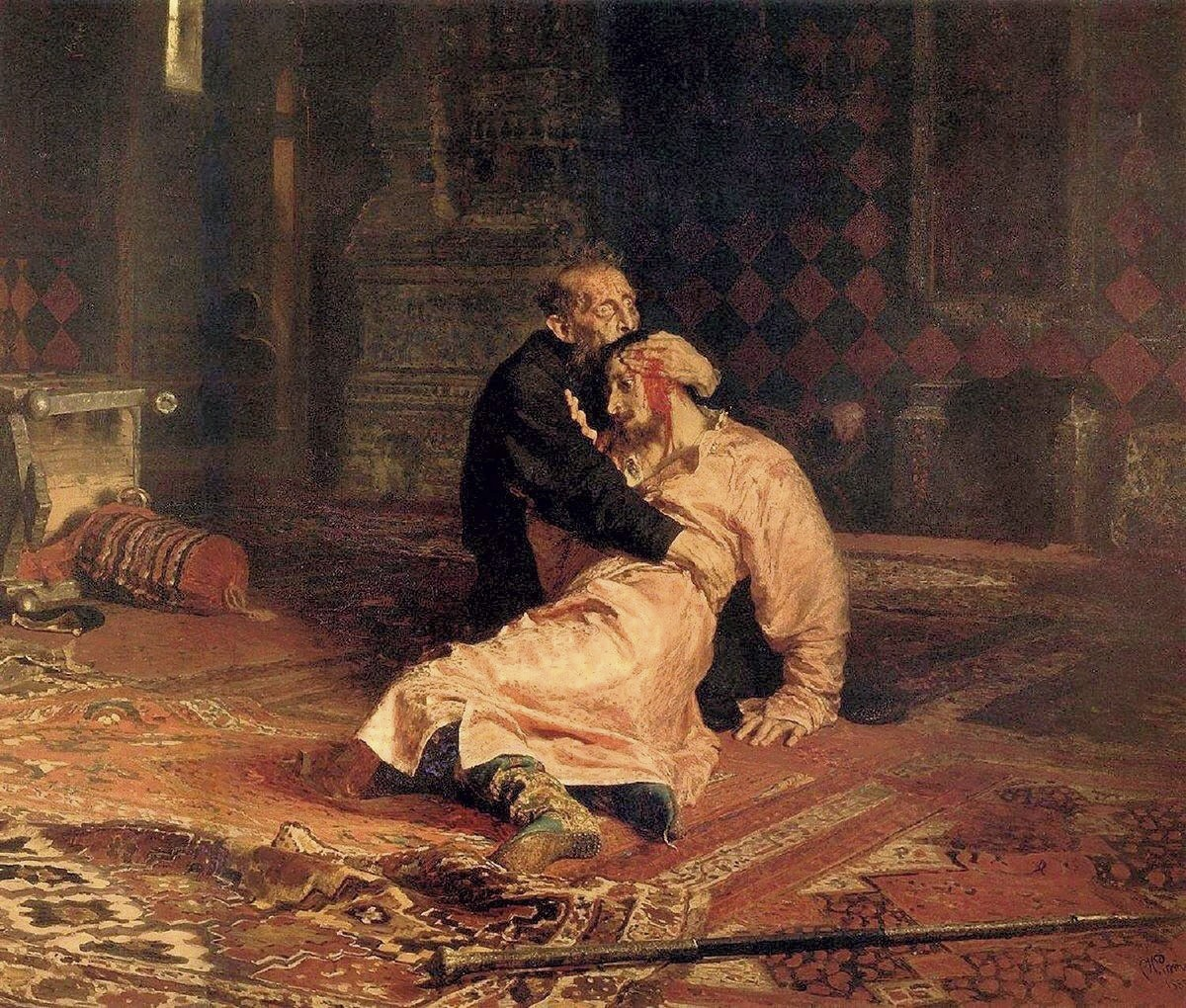 Ilya Repin. Tsar Ivan Grozny Killing His Son on 15 November 1581. 1873