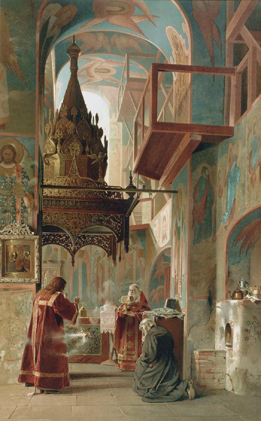 Inside the Sanctuary of a Church (Mikhail Villie, no date (1880s-1890s) dans immagini sacre