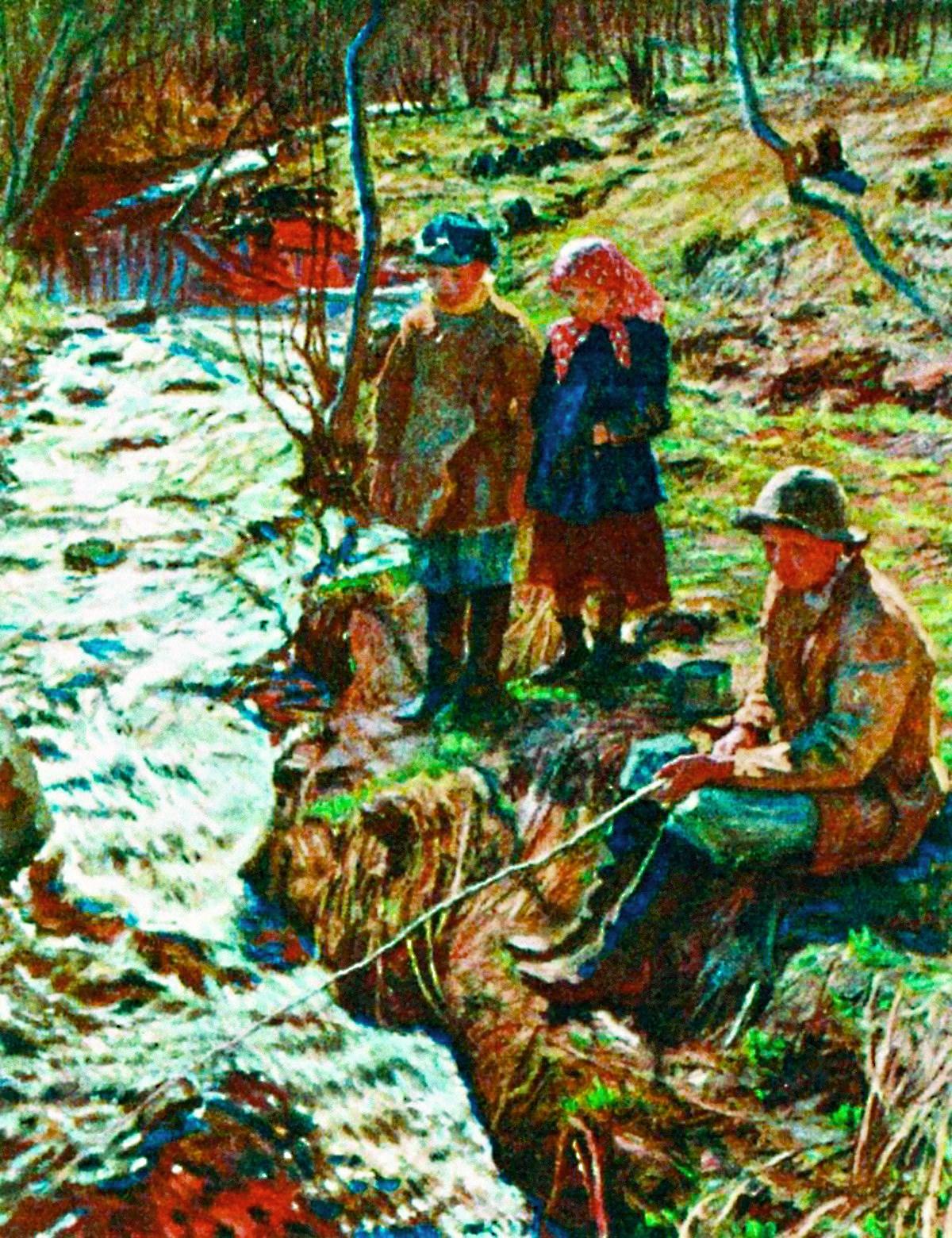 00 Nikolai Bogdanov-Belsky. Trout Fishing. 1920s
