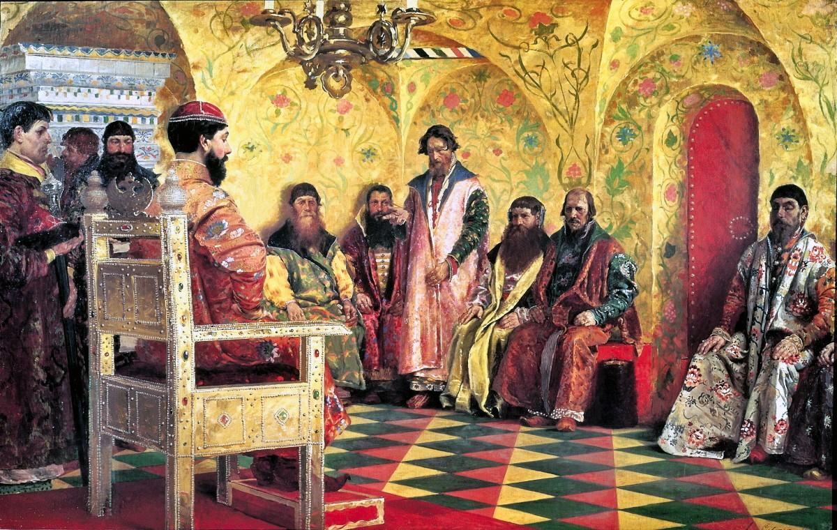 Andrei ryabushkin a meeting of tsar mikhail fyodorovich with his