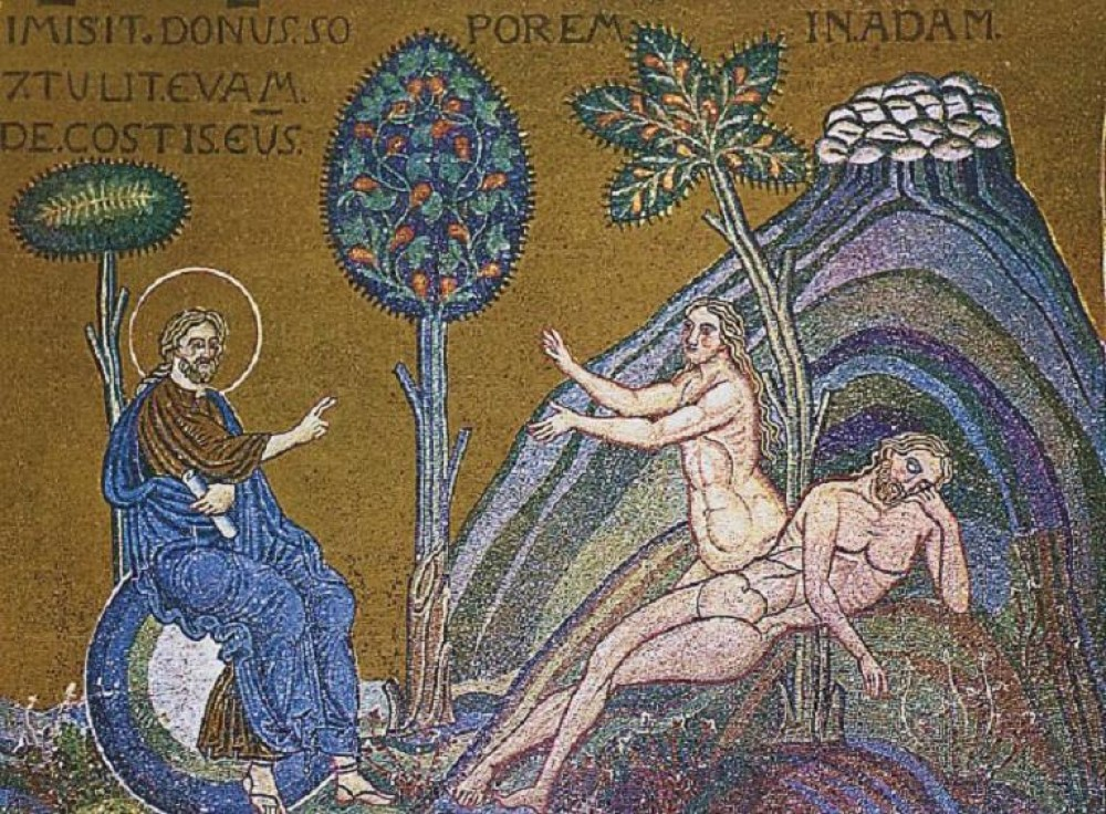 The creation of Eve, The 12th Century New Roman Mosaics of the Cathedral of the Nativity of the Most Holy Mother of God in Monreale, Italy dans immagini sacre