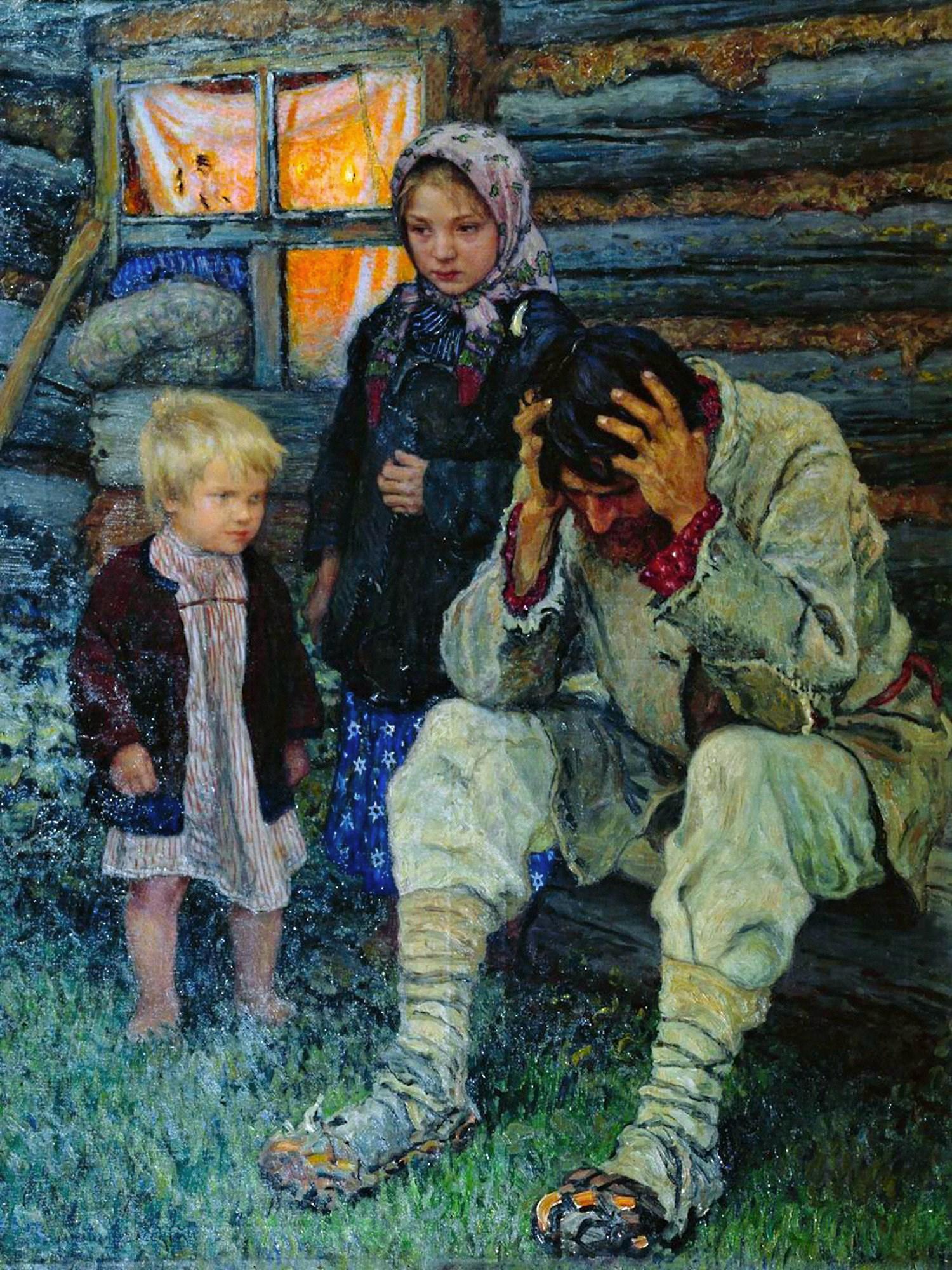 00 Nikolai Bogdanov-Belsky. Grief. 1909