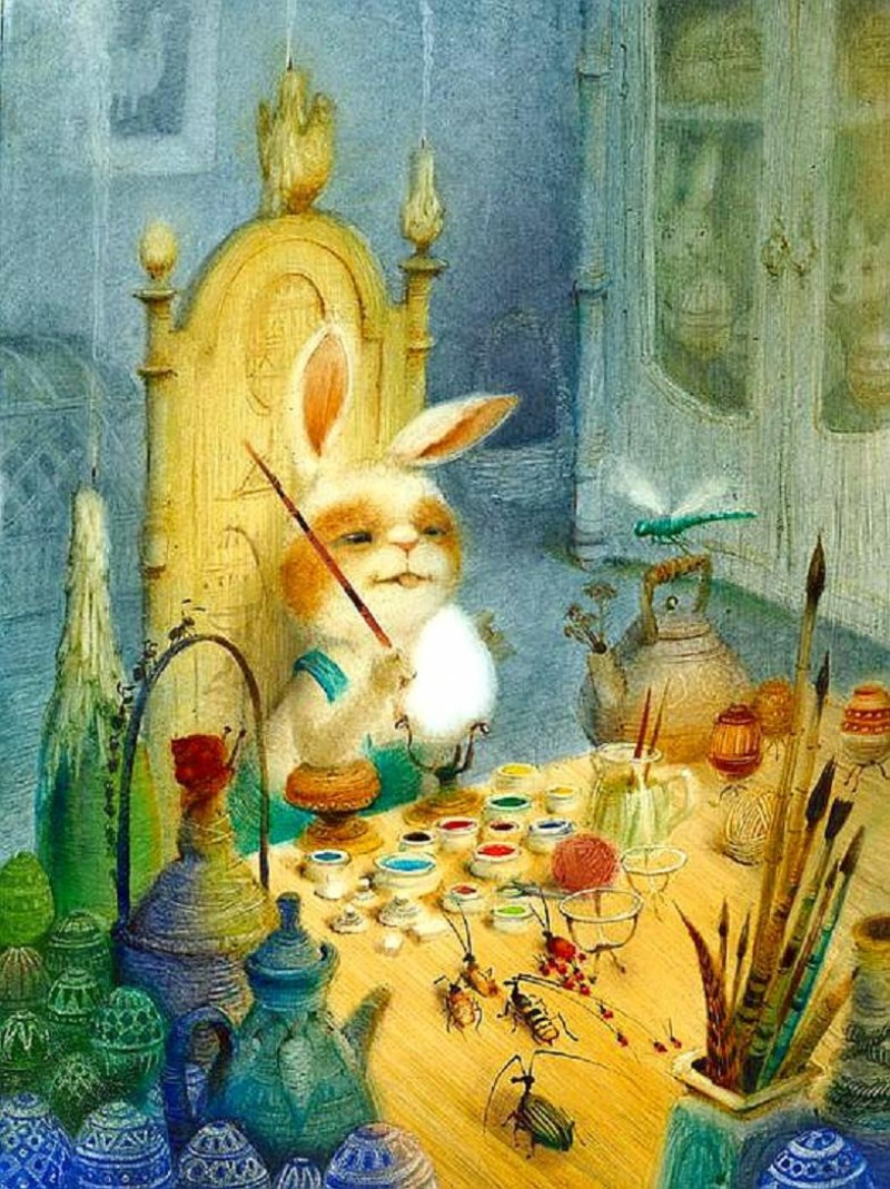 Igor Oleinikov. (Easter Bunny Decorating Eggs). nd