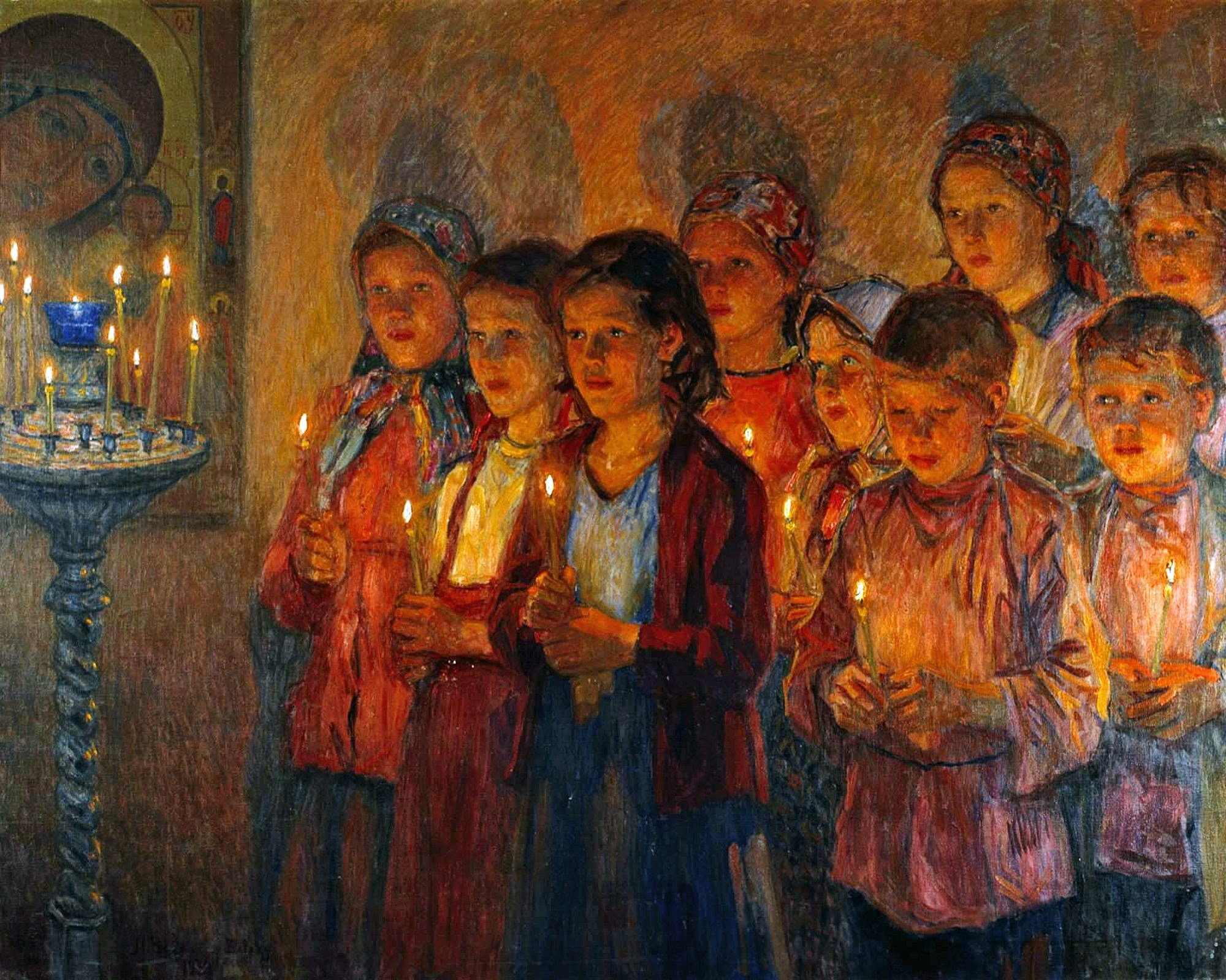 00 Nikolai Bogdanov-Belsky. In Church. 1939
