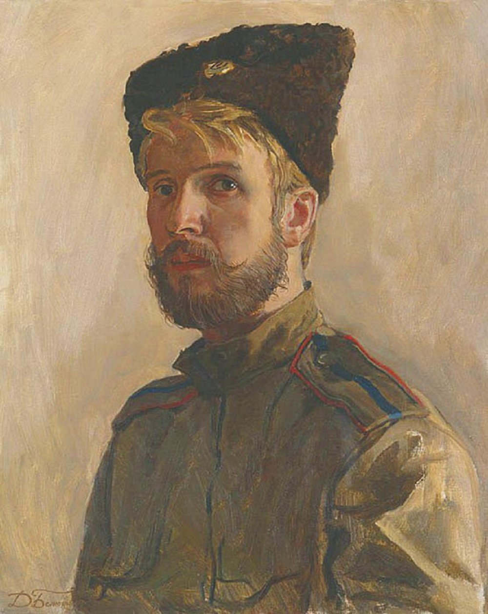 Dmitri Belyukin. 'Kozachok'. A Self-Portrait Wearing the Uniform of the 4th Don Cossack Regiment. 1991