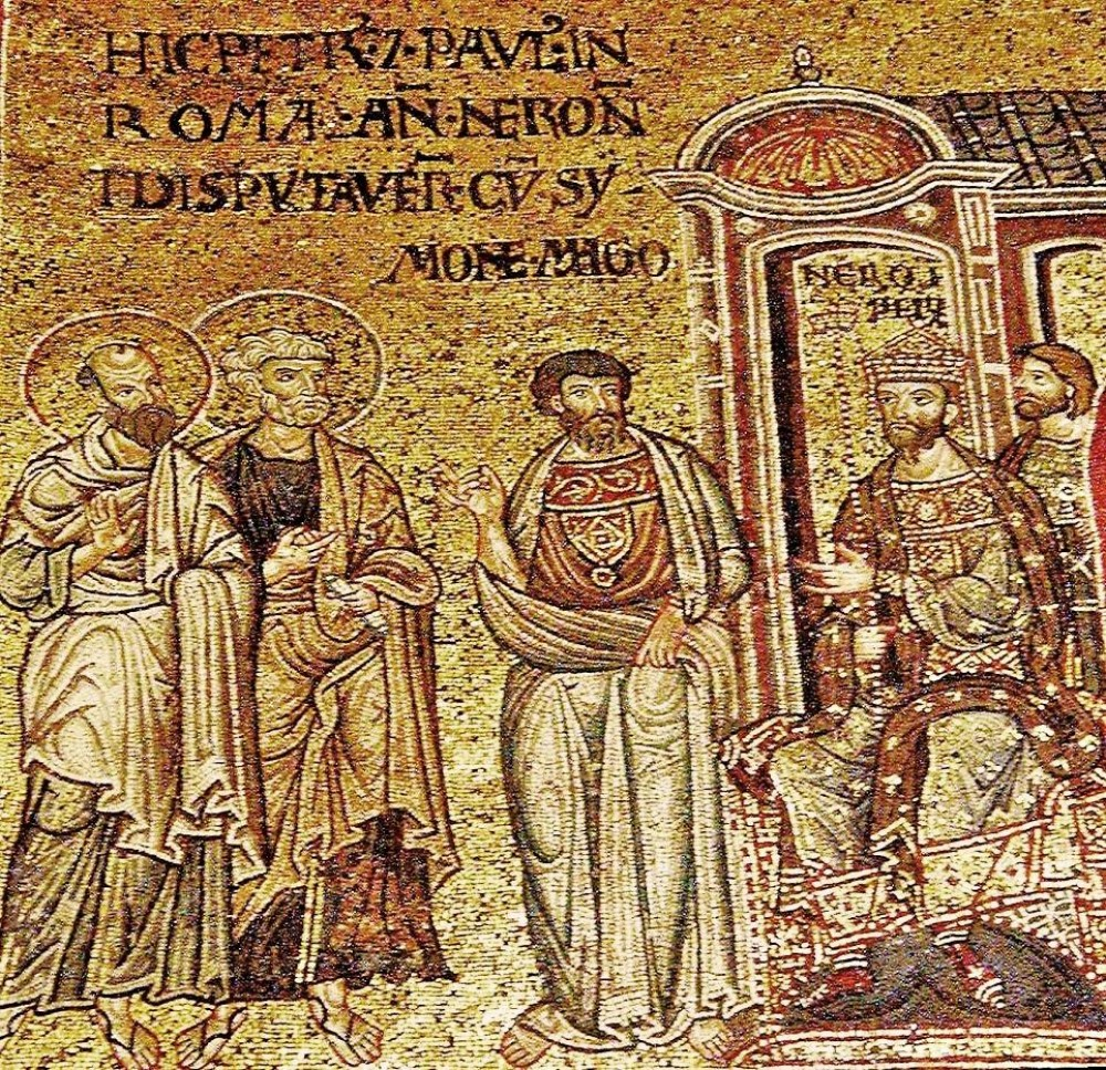 Apostles Ss Peter and Paul Before Nero in Rome. Cathedral of the Nativity of the Most Holy Mother of God. (Monreale, Italy (Sicily). 12th century dans IMMAGINI (DI SAN PAOLO, DEI VIAGGI, ALTRE SUL TEMA)