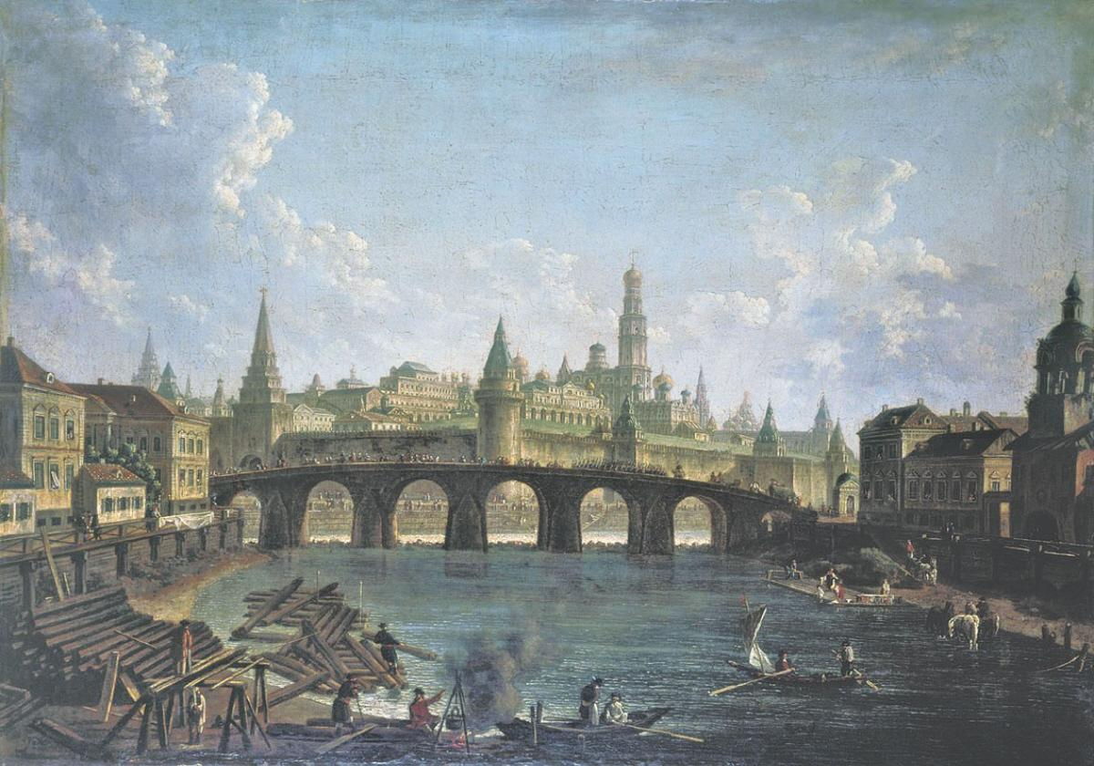 Cities, Regions, and climate of Pycheko. Fyodor-alekseyev-a-view-of-the-moscow-kremlin-and-the-kamenny-bridge-undated