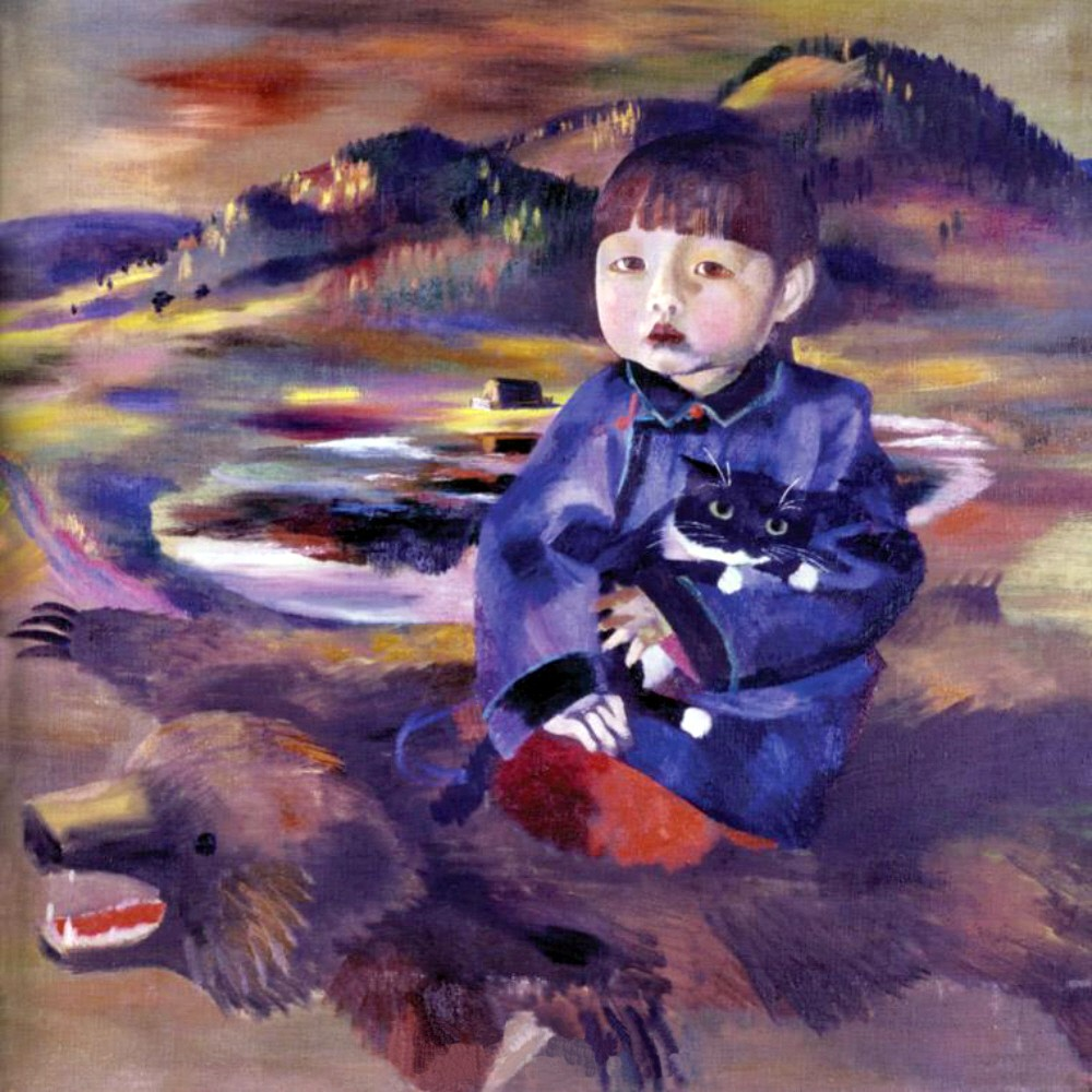 Albina Tsybikova. A Boy Sitting on a Bearskin. 1992