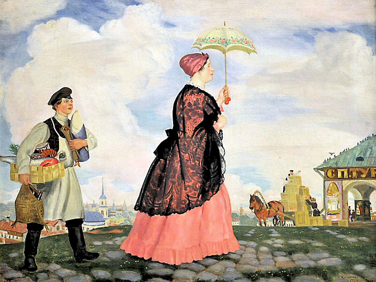 Boris Kustodiev. A Merchant's Wife with Purchases. 1920