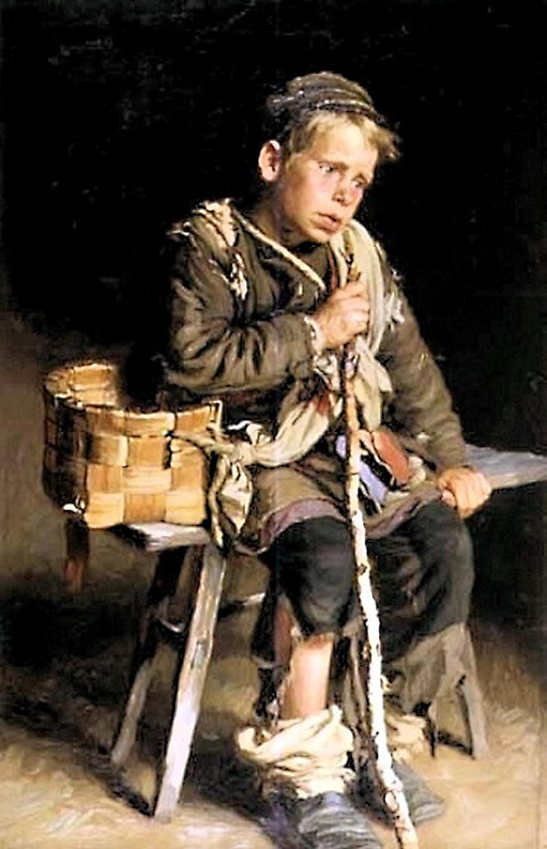 Ivan Tvorozhnikov. A Beggar Boy with a Basket. 1886