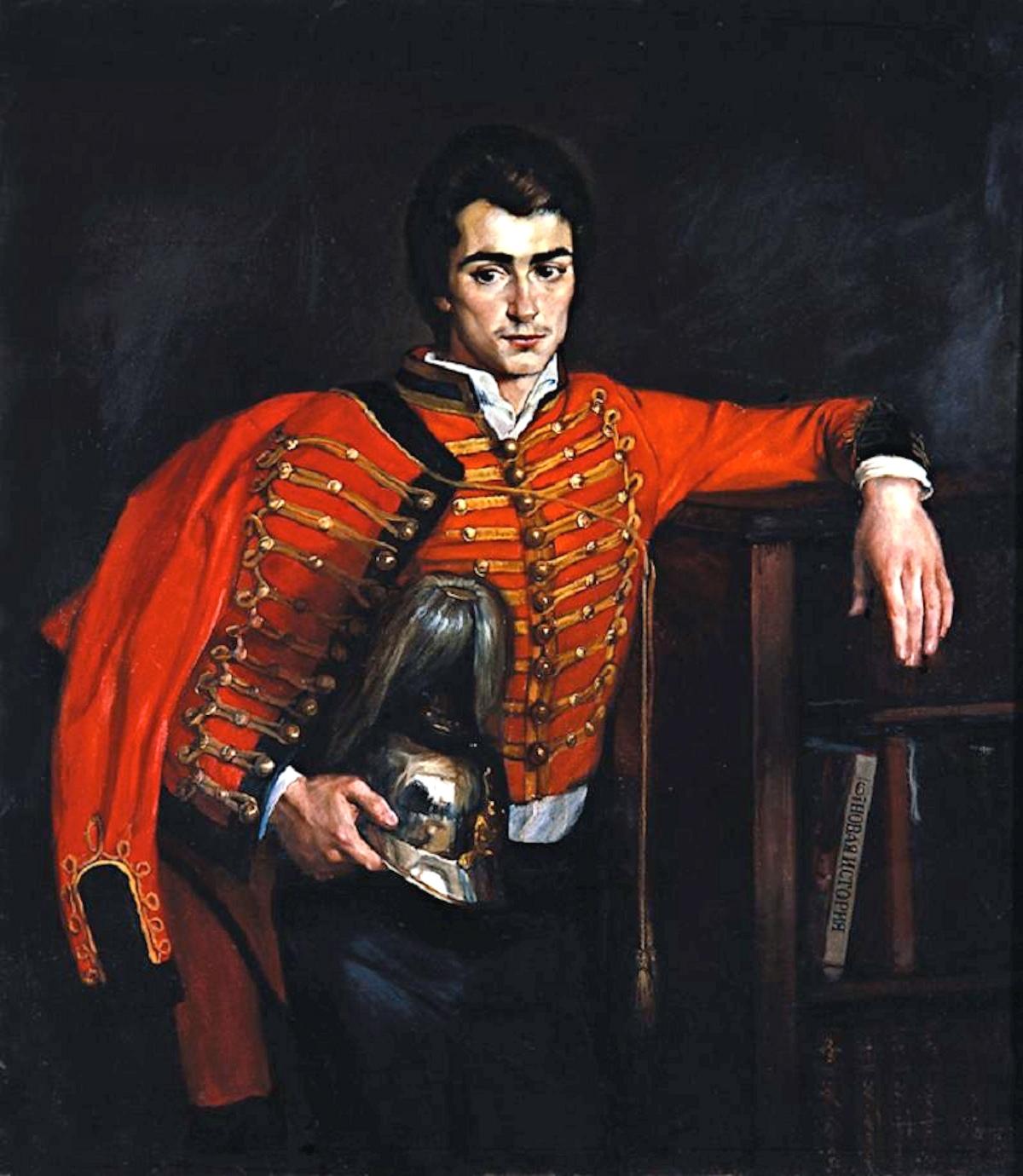 00 Mikhail Shankov. A Portrait of a Man in a Hussar's Uniform. 1983