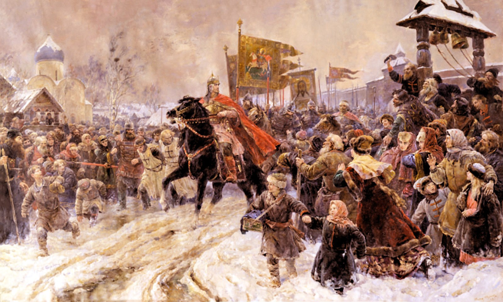 00 Valentin Serov. Entry of St Aleksandr Nevsky into Pskov After the Battle on the Ice