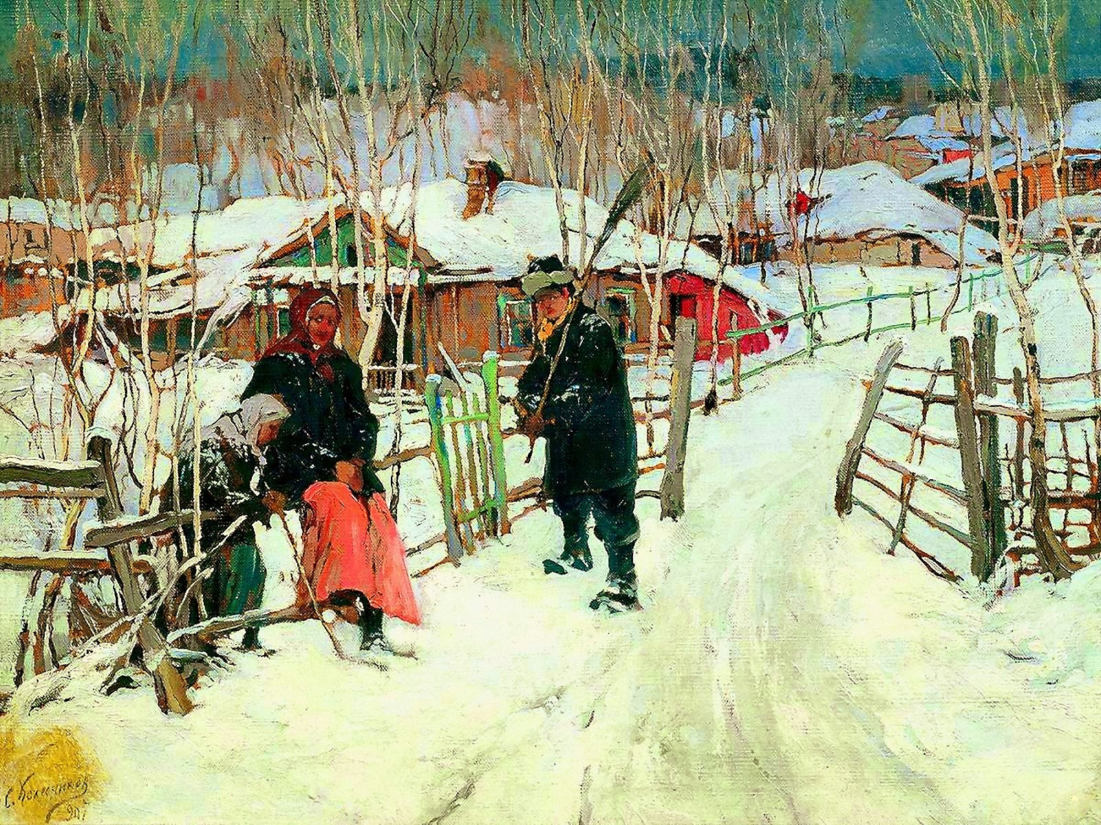 00 Stepan Kolesnikov. Winter. At the Village Boundary. 1907