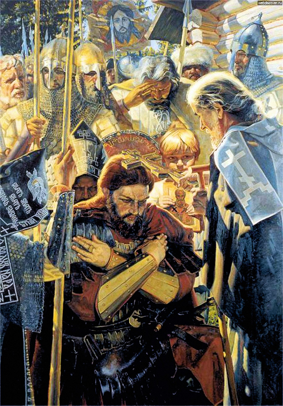 00 Igor Sushenok. Do Not Yield Russian Land. St Sergei Radonezhsky Blessing St Dmitri Donskoi. 2001