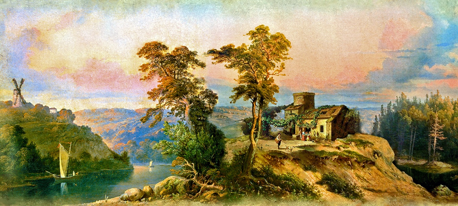 00 Ivan Davydov. A Landscape with a Mill. 1853