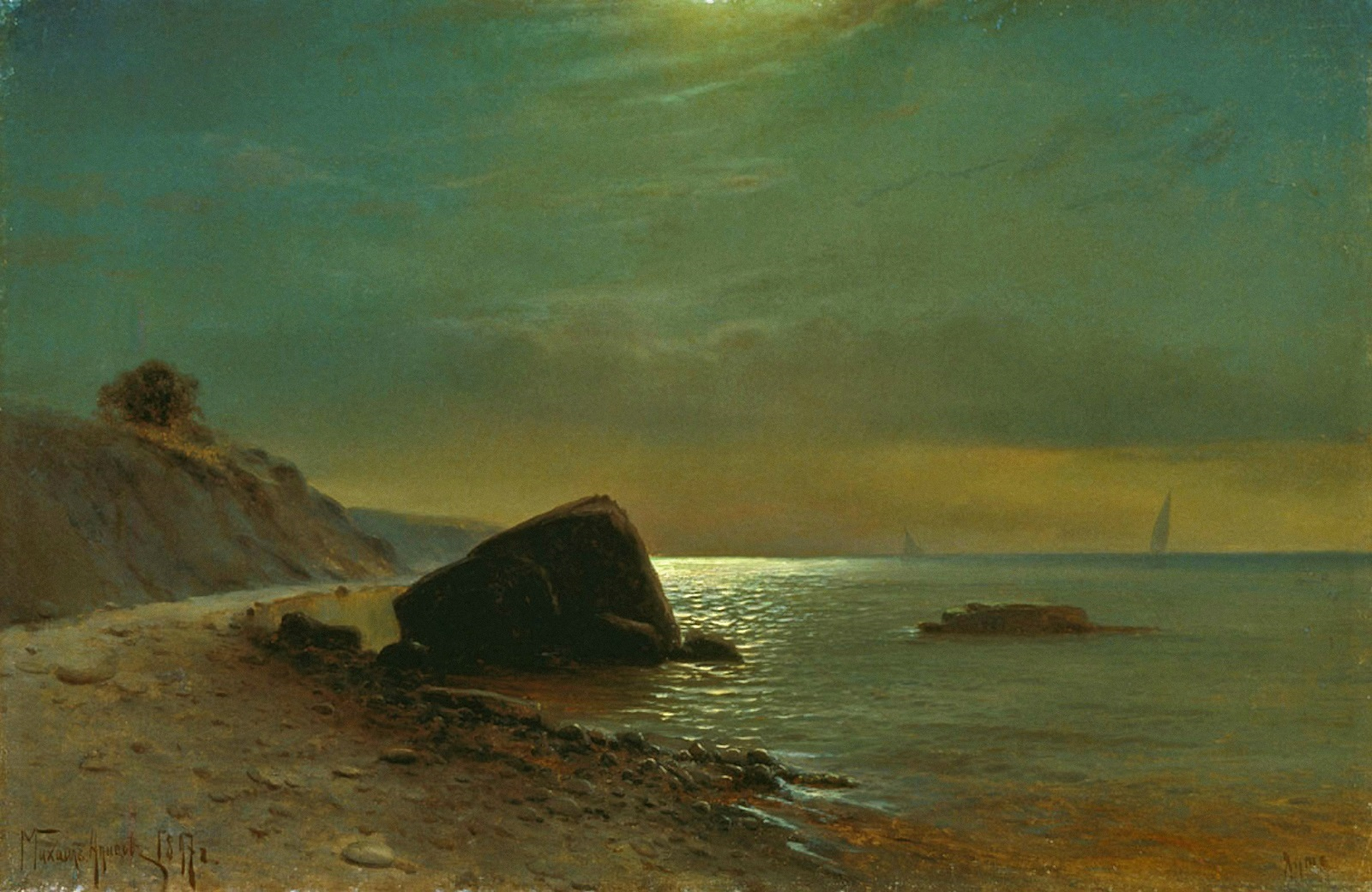 00 Mikhail Alisov. A Moonlit Night Over the Seashore. 1897
