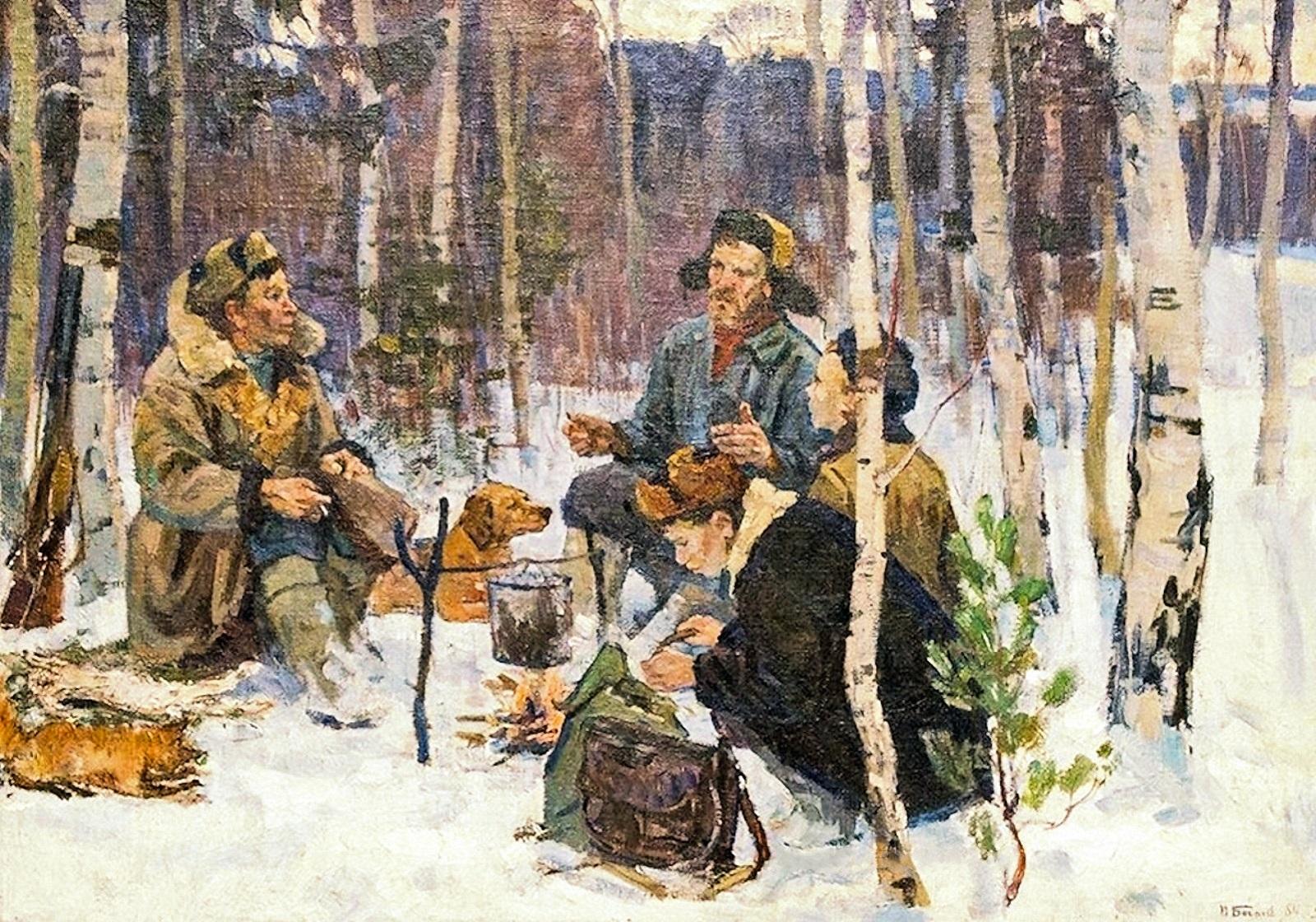 00-pyotr-bogachyov-hunters-taking-a-break-1964